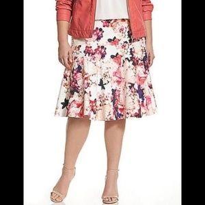 Lane Bryant Pink Floral Print Skater Skirt Size 14